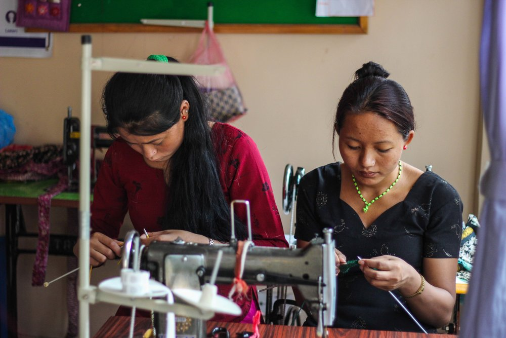 Some of the amazing women we work with creating hand made products at our Seven Women Centre in Nepal