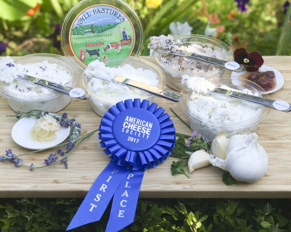 Blue ribbons for Idyll Farms. Photo courtesy of Idyll Farms.