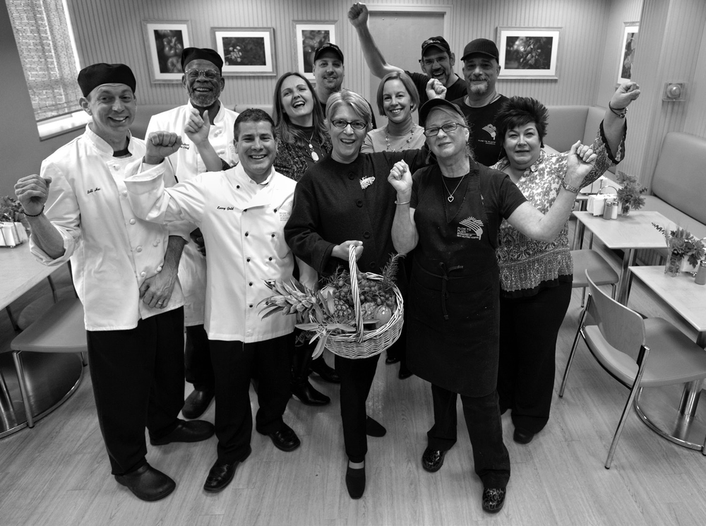 Marydale DeBor at the New Milford Hospital, in her newly renovated cafeteria with executive chef Kerry Gold and other members of the culinary and food service team.