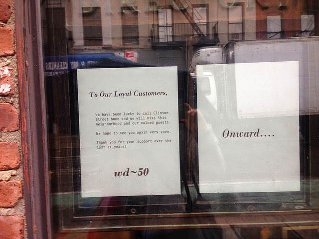 The farewell sign in the window of wd~50.