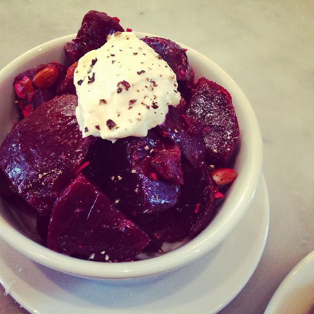 Roasted beets, almonds and horseradish creme fraiche.