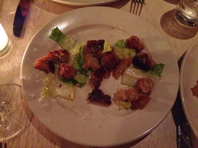 A too-many-croutoned escarole salad.