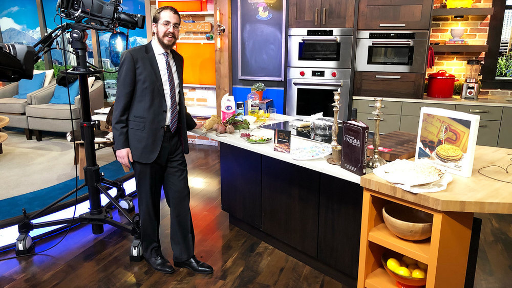 Rabbi Avremi Zippel, the program director at Chabad Lubavitch of Utah, during an appearance on Fox 13 to talk about Passover food. Photo courtesty of Avremi Zippel.