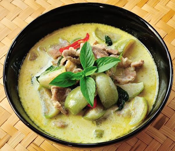 Green Curry with chicken or tofu - $10 (future menu item)  Ingredients: fresh ground chili peppers, galangal, kafir lime leaves, lemongrass, garlic, coconut milk, Thai green eggplants, bamboo shoots, and basil leaves served with Jasmine Rice.