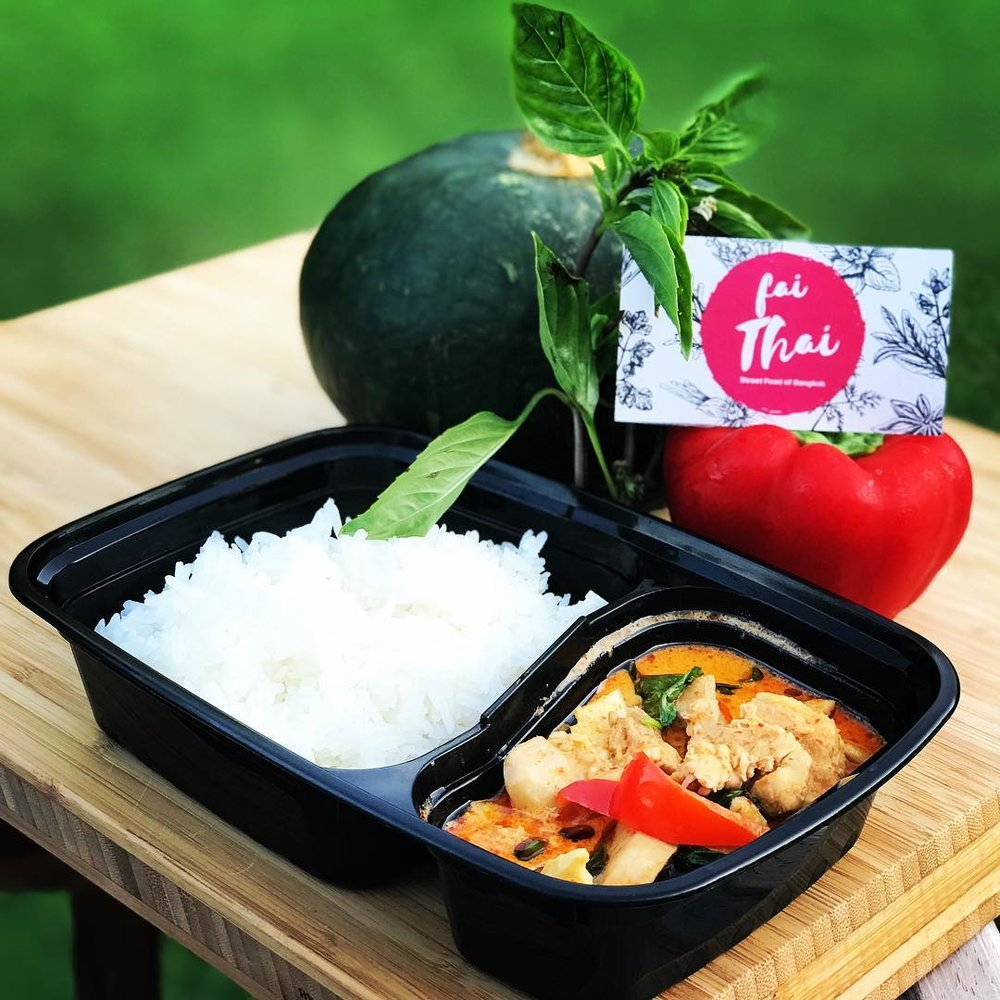 Red Curry with chicken or tofu - $10   ingredients: ground red chili peppers, lemon grass, galangal, garlic, kafir lime leaves, coconut milk, pumpkin, bamboo shoots, and Thai basil leaves served with Jasmine rice.