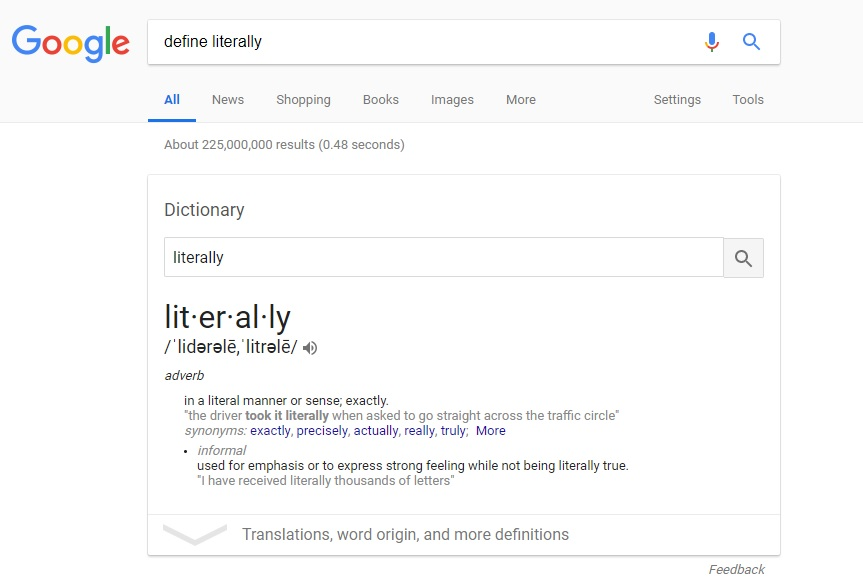 The Google definition of the word 'literally'