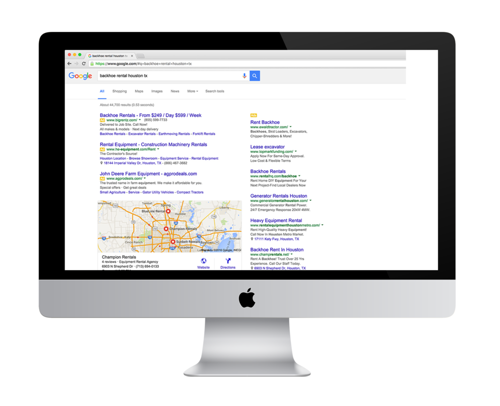 Paid ad placements push the three-pack results list below the fold on desktop browsers, but the prominence of the map will still draw most users to this area of the page.