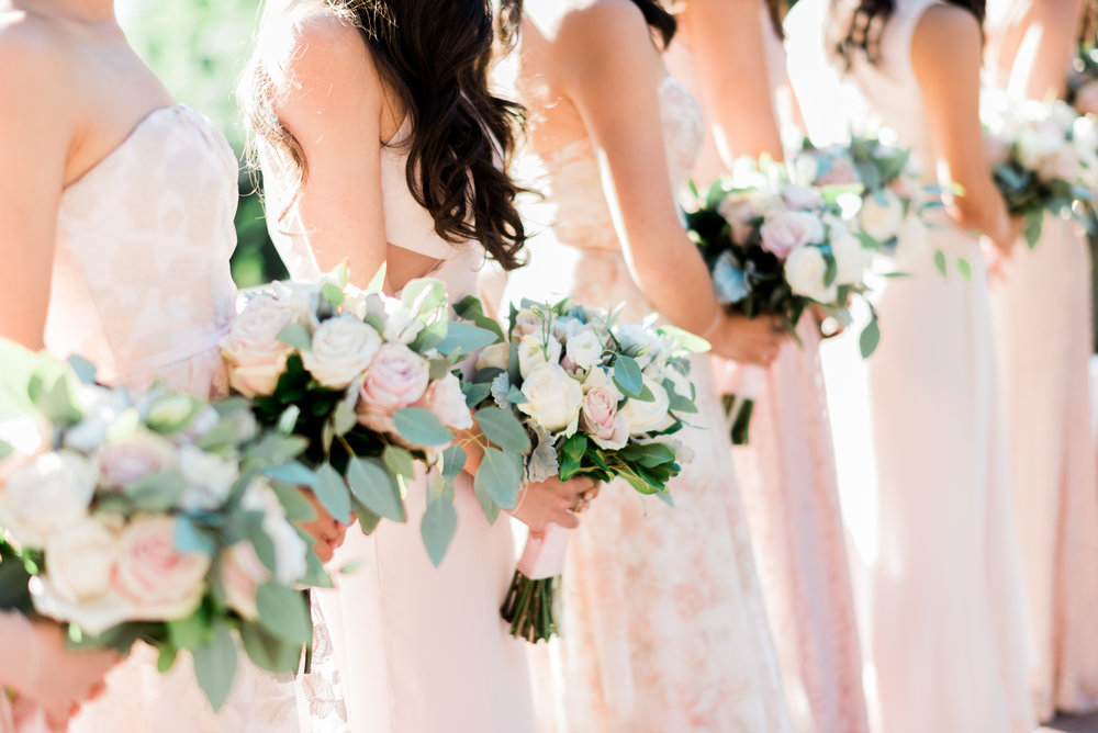 blush bridesmaids bouquet