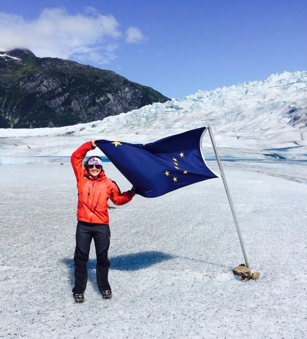 Georgia Grace at work on the Mendenhall Glacier in Juneau, Alaska.