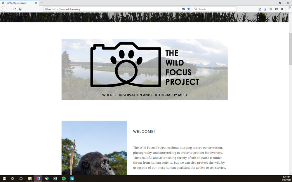 The Home page on the Wild Focus Project
