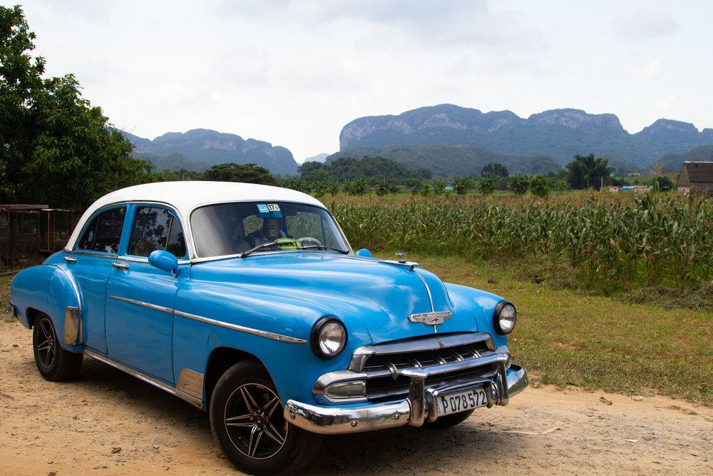 Light Blue '56 Chevrolet in Vinales Valley, Cuba