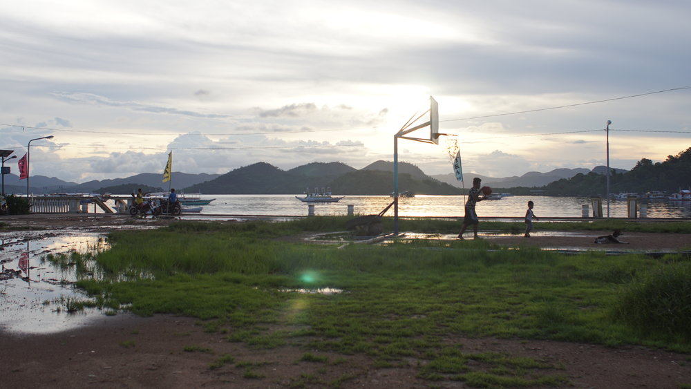 Sunset Hoops After a Hard Day's Work