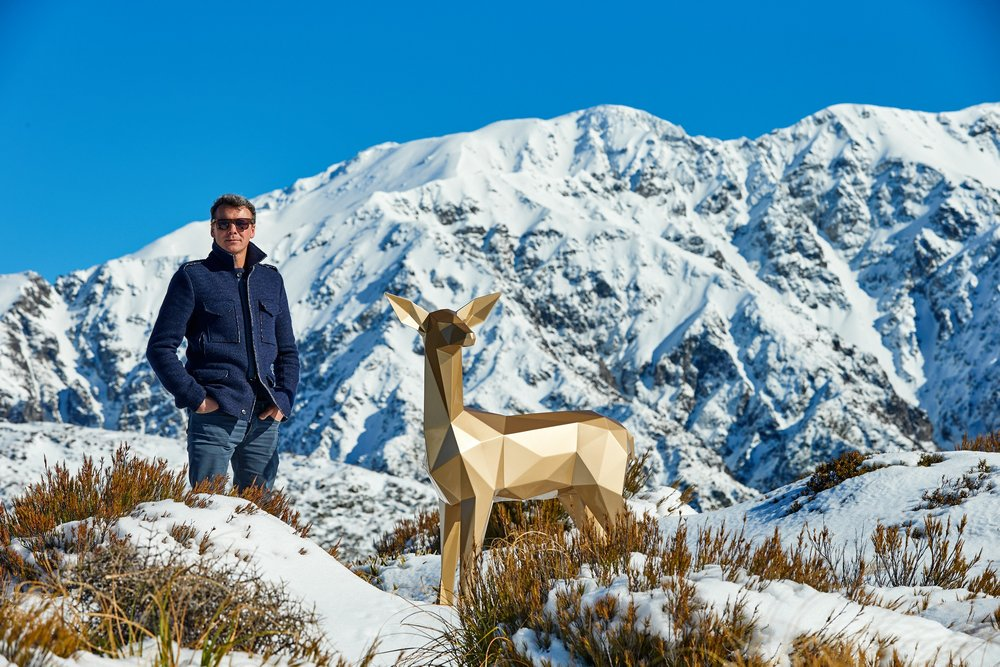 Ben Foster pictured with the Gold Deer, Kaikoura Seaward Mountains (2018)
