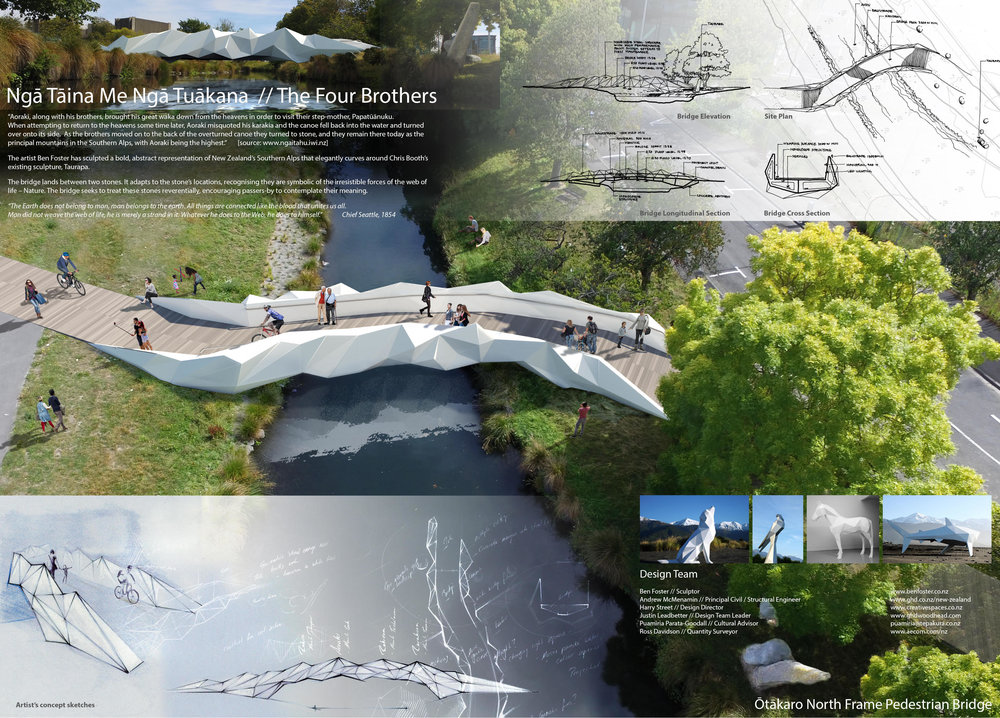 Collaborative project with GHD Woodhead: The Four Brothers - a pedestrian bridge concept for Christchurch CBD.