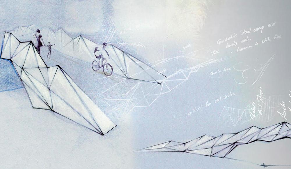 Ben Foster concept sketch 'The Four Brothers' pedestrian bridge, Christchurch CBD.
