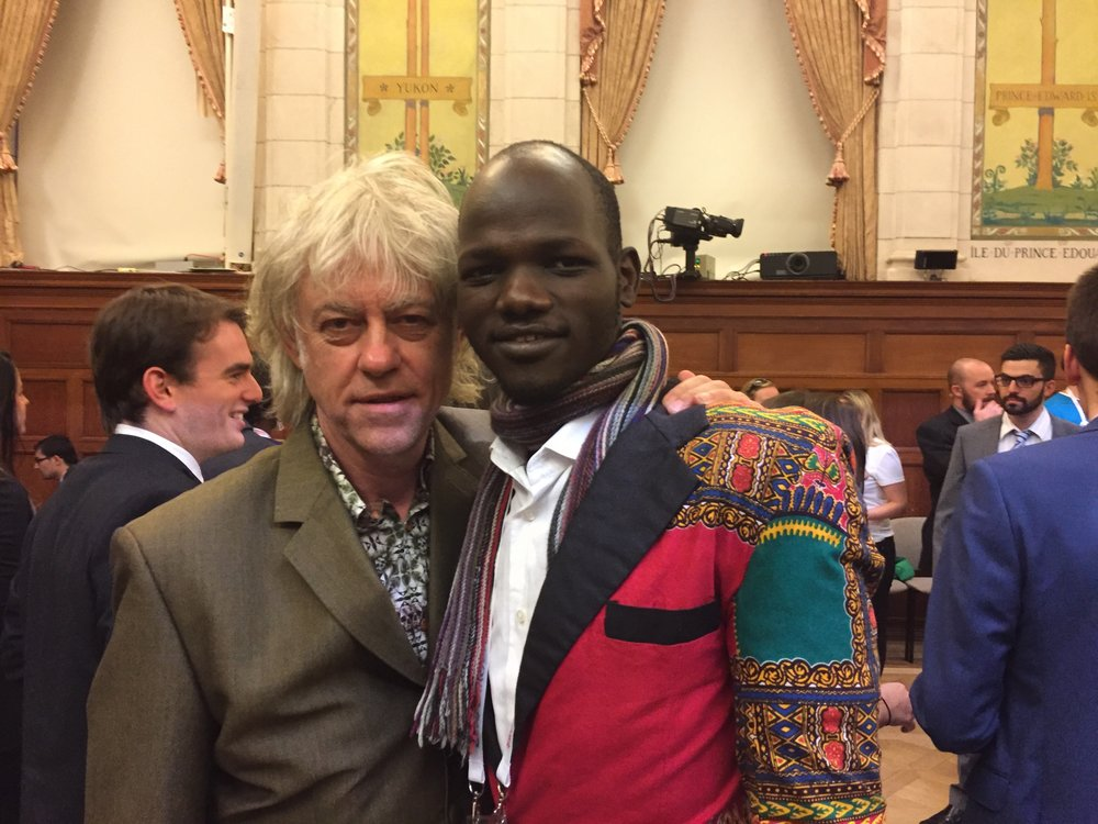 James Madhier with Bob Geldof, singer-songwriter, author, actor, political activist, and Live 8 organizer.