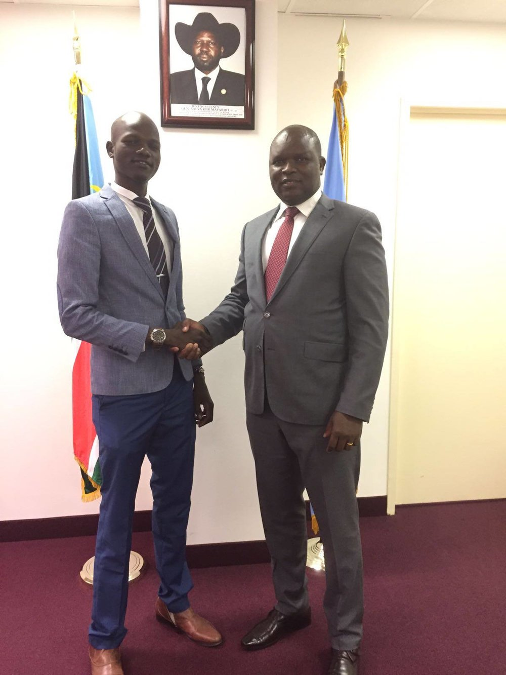 James Madhier meeting with Joseph Malok, Ambassador of South Sudan to the United Nations.