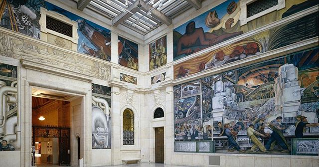 Diego Rivera was born today in 1886. His Detroit Industry Murals at the Detroit Institute of Arts have always been a favorite of mine. @diadetroit #DIAdetroit #DiegoRivera #Detroit #murals #automotive #lightingdesign #lightingdesigner #museumviews @museumviews #museumworkers @museumworkers #museumlightingdesign #Michigan