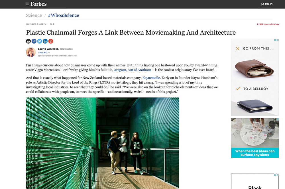 Kaynemaile on Forbes: Plastic Chainmail forges link between movie making and architecture