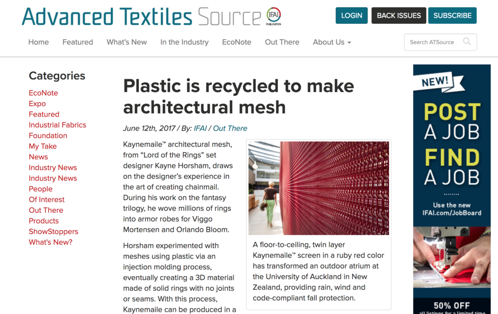 Kaynemaile feature on Advance Textiles Source