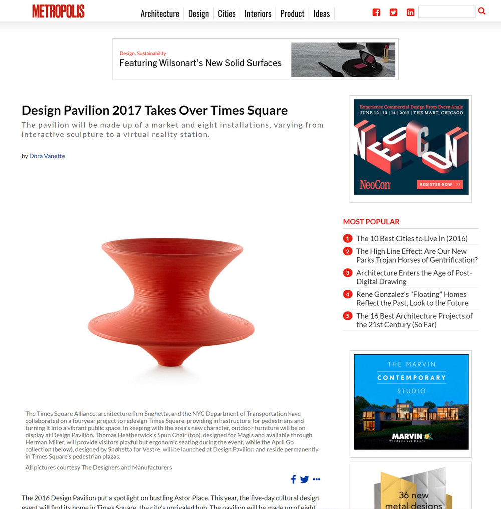 Metropolis: Design Pavilion 2017 Takes Over Times Square featuring Kaynemaile Ned Kahn collaboration
