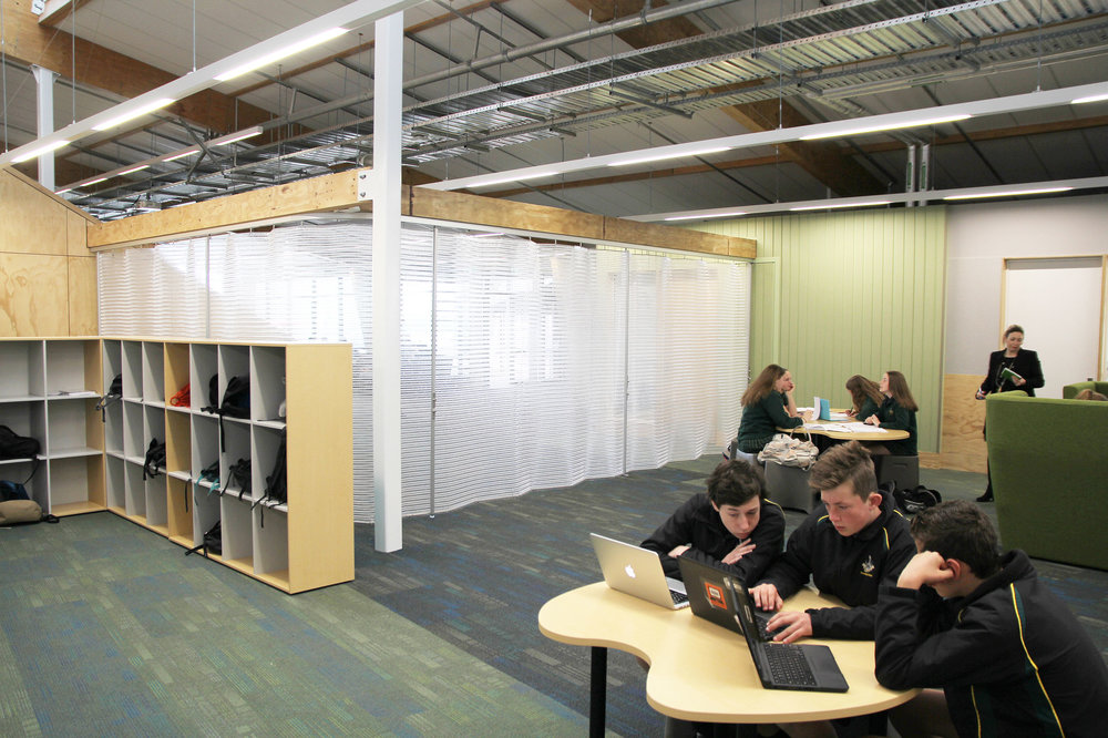 Flexible and secure folding screens for Rangiora High School   Rangiora High School needed a flexible, movable screen to suit an innovative class room layout at their new learning centre  Rakahuri . The new centre, designed by Jasmax, provides an open plan teaching space and cafe.