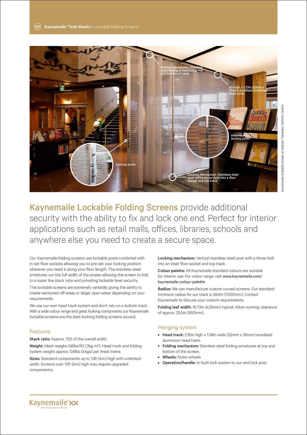 Lockable Folding Screens Tech Sheet     Download →