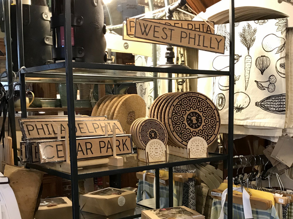 Find philly phever coaster sets and trivets @ vix emporium - Take a street car to 50th and Baltimore Avenue. Ask VIX how they got their name.