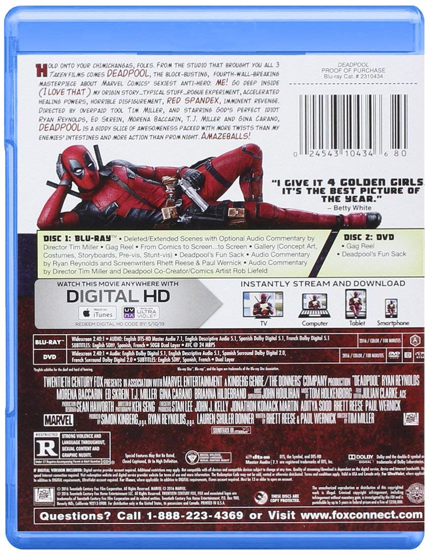 Deadpool does it right on the box!  (That is probably the least family-friendly comment I'll make on this site or the podcast)