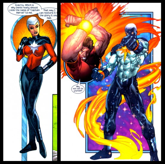 Phyla-Vell (left) and Genis-Vell (right), with Rick Jones (center).  Yes, that is a taxonomy pun.  Thank Peter David for that!