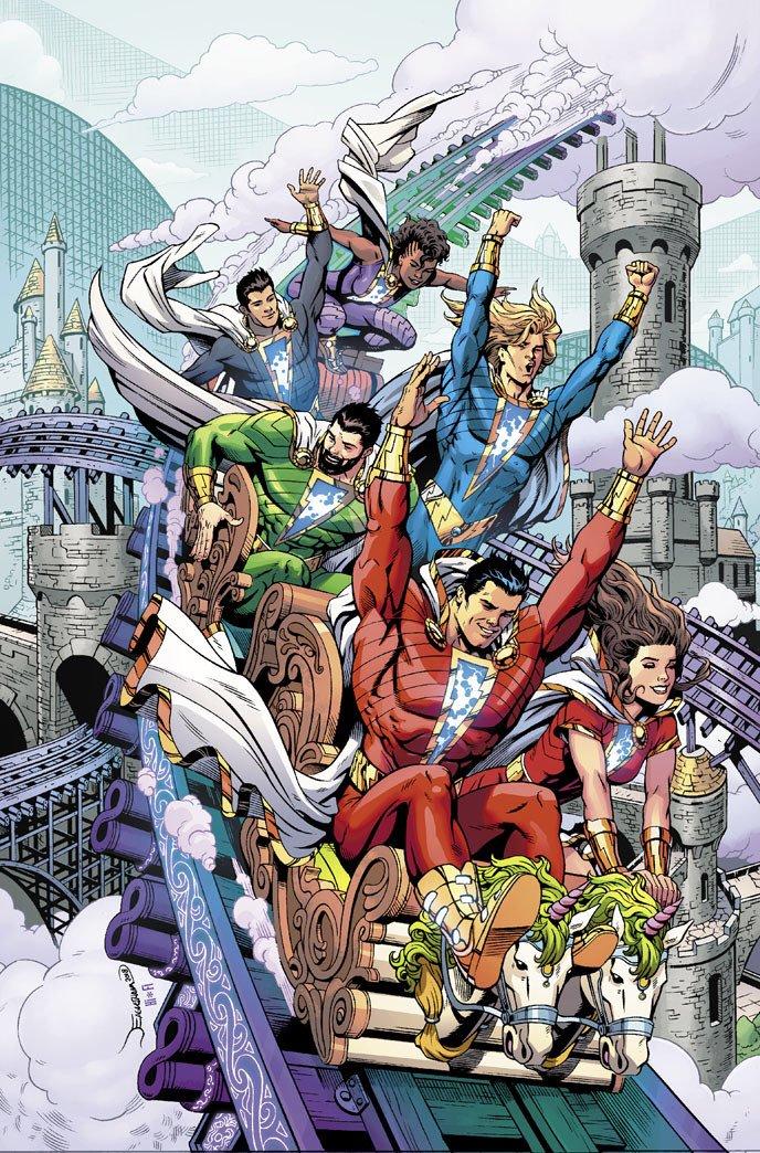 The New 52 Shazam Family. Disregarding theme park safety rules since 2011.