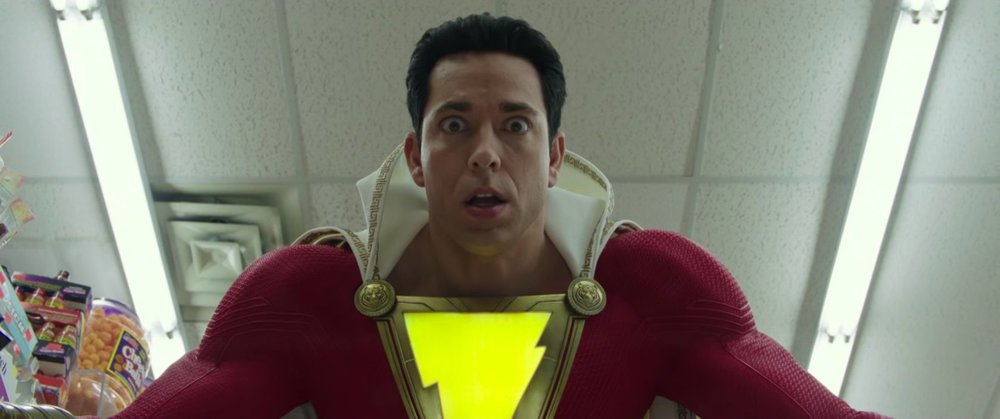 Probably the exact look on Zachary Levi's face when he was told he gets to be a superhero.