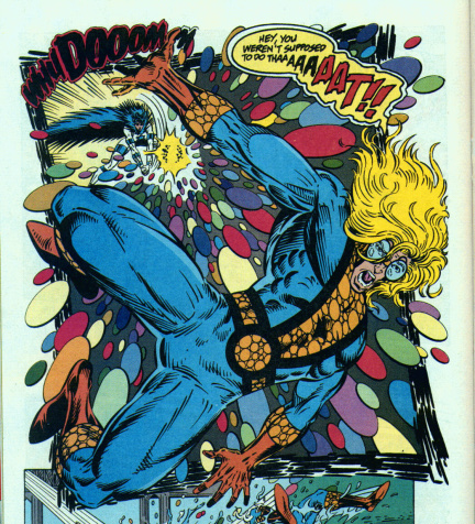 Even after getting more control over his powers, Speedball still gets tossed around occasionally.