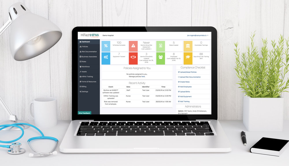 Canyon Compliance - Ease the administrative burden of compliance with the Canyon Compliance Dashboard.