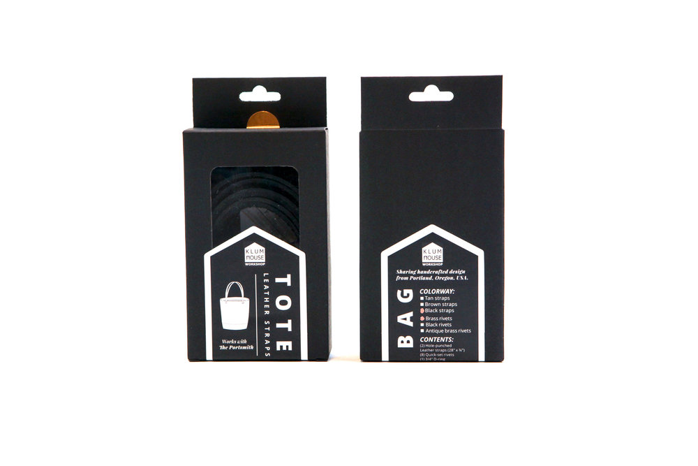 - Leather Tote Strap and Hardware Finishing Kit packaging, available to purchase at klumhouse.com