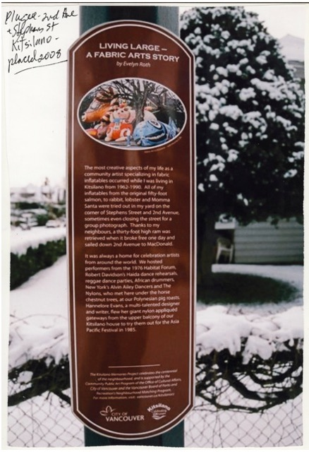 Tribute Plaque Outside Evelyn's Home From 1975-1988 In Kitsilano Canada