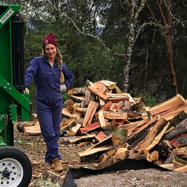 """Getting after that wood this weekend at Wild Iris 😝. Flying through firewood this winter, it's been a cold one!""  OP ."