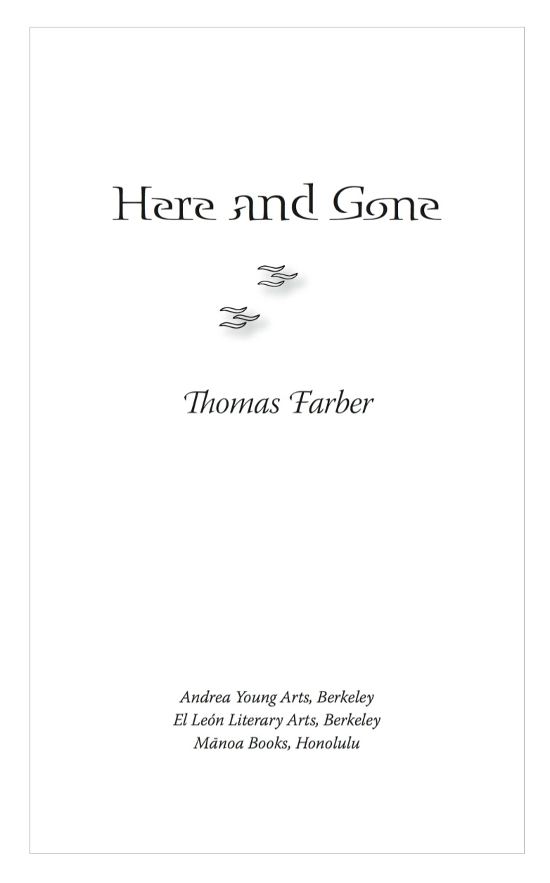 Title page of  Here and Gone , produced in QuarkXPress. Display type is  Blue Island .