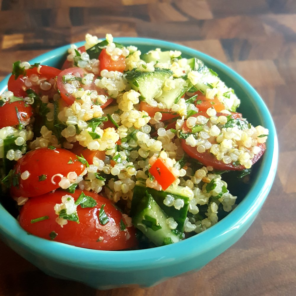 - ingredients-1/2 cup cooked quinoa-1/2 cup halved cherry tomatoes-1/2 cup chopped cucumbers-2 tbsp chopped parsley-2 tbsp chopped mint (you could also use fresh dill)-1 tbsp fresh lemon juice-1 tbsp olive oil-s & p to taste make it-add all ingredients to a bowl and mix well-for the best flavour, make this salad ahead of time! Refrigerate for 30 minutes to let everything hang out and the flavours will intensify!