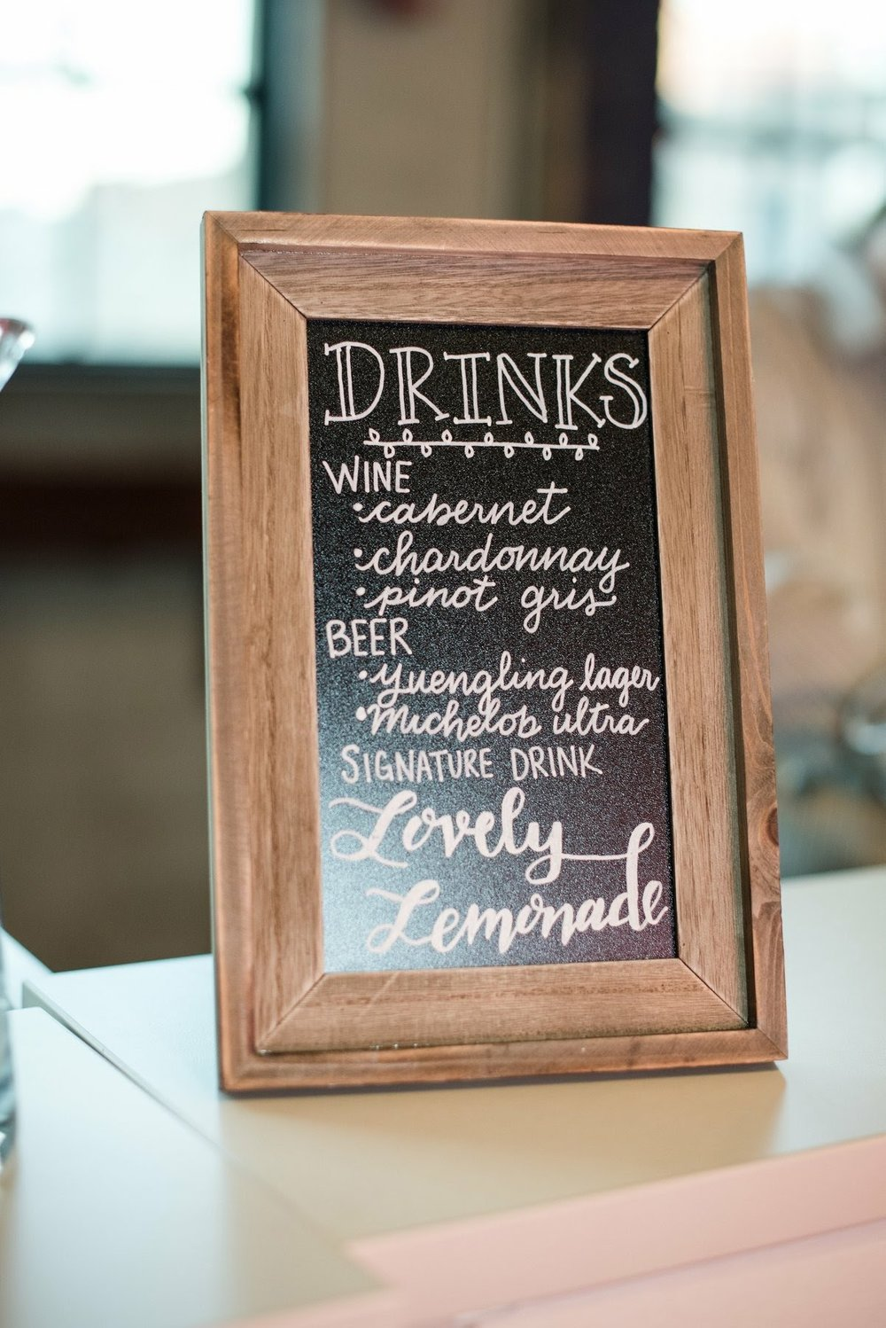 Specialty Drink and Bar Menu Calligraphy Wedding Chalkboard Sign