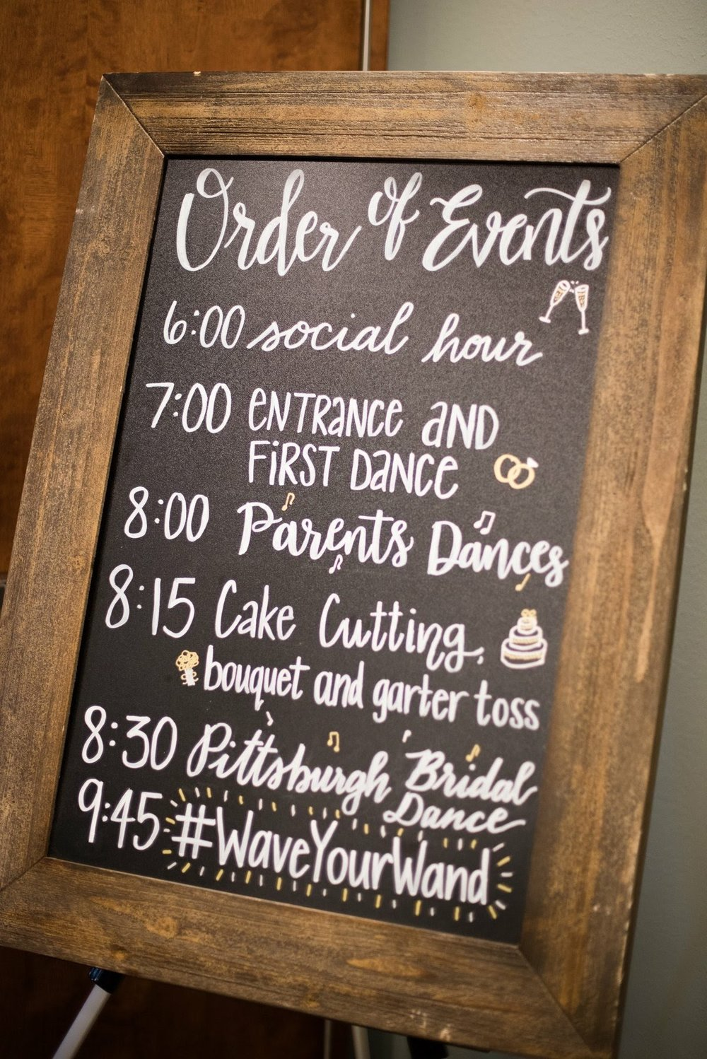 Order of Events Agenda Wedding Calligraphy Chalkboard Sign