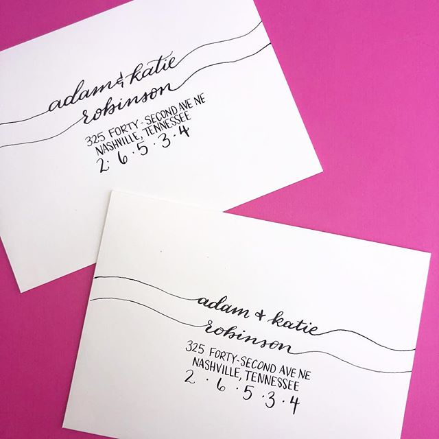"This lettering style for envelopes is called ""Katie"", after a good friend in Nashville. I love the little tails going off to the edge. I used pointed pen on this one to make sure I had really thin lines. I'm normally a stickler for proper punctuation, but I like the one this one looks with the lowercase names and all caps for the address. - - -  #luckyraindroplettering #moderncalligraphy #handlettering #calligraphy #pointedpen #lettering #handlettered #weddingenvelopes #weddingenvelopecalligraphy #envelopeart #gettingmarried #northgeorgiawedding #romegaweddings #shreveportwedding #seattlewedding #weddingcalligrapher #weddingcalligraphy #weddinginspo #weddingstationery #handwritten #weddingsignage #envelopeaddressing #weddingideas #weddinginspiration #envelopecalligraphy #pointedpencalligraphy #dreamweddingshots #smpshareyourstory #huffpostido #everydayibt"