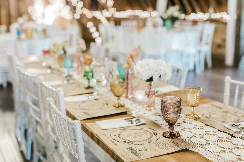 chippy white table wedding rentals