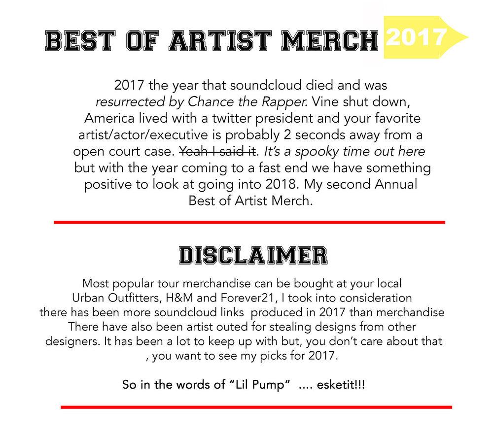2017 best artist merch