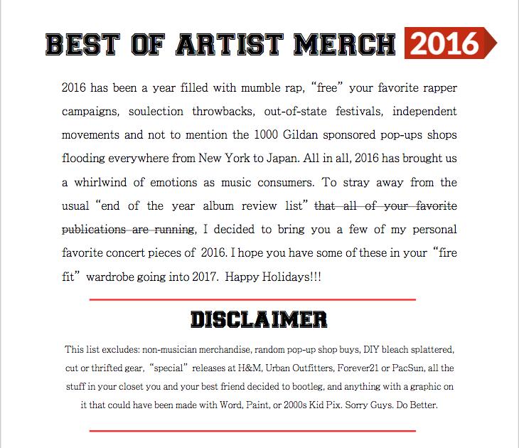 2016 Artist mERCH