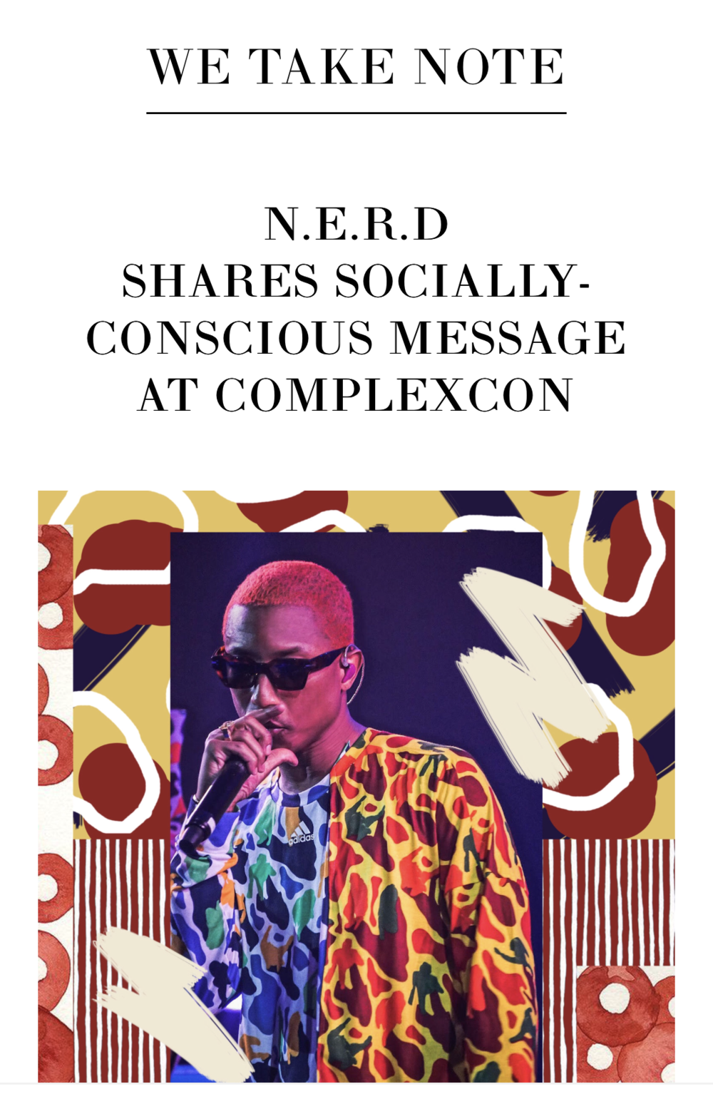 N.E.R.D Photo Placements for We Take Note