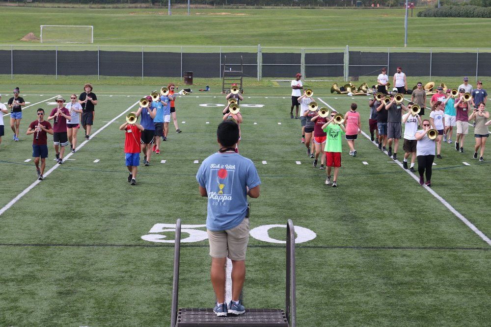 The Marching Virginians perfecting marching techniques during Band Camp 2018; Source: Marching Virginians  Facebook
