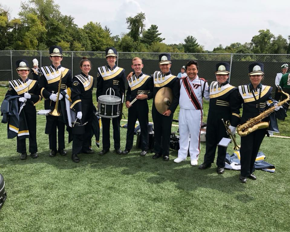 Eric Chang with Christiansburg High School students at Virginia Tech's High School Band Day 2018; Source: Eric Chang