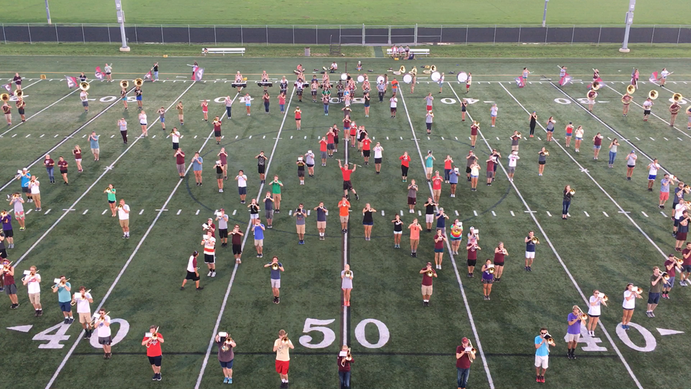 The Marching Virginians practicing drill; Source: