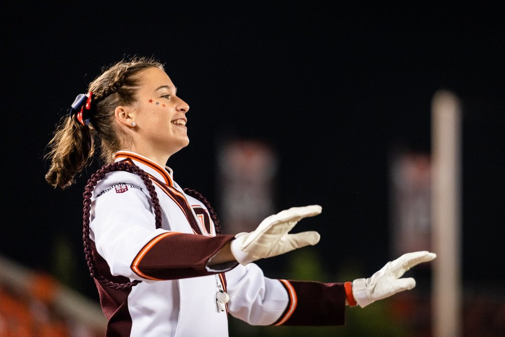 Ashlyn McDonald conducting the band during football game against Notre Dame; Source: Brendan Little